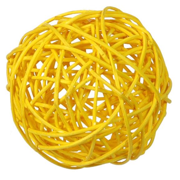 Rattankugeln (10 Stück) 3, 4 & 7 cm - gelb