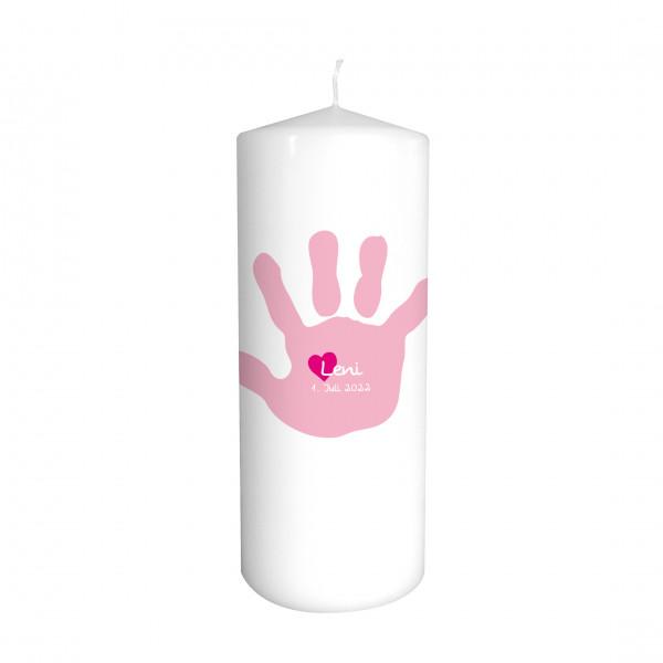 Taufkerze 'Handabdruck' rosa