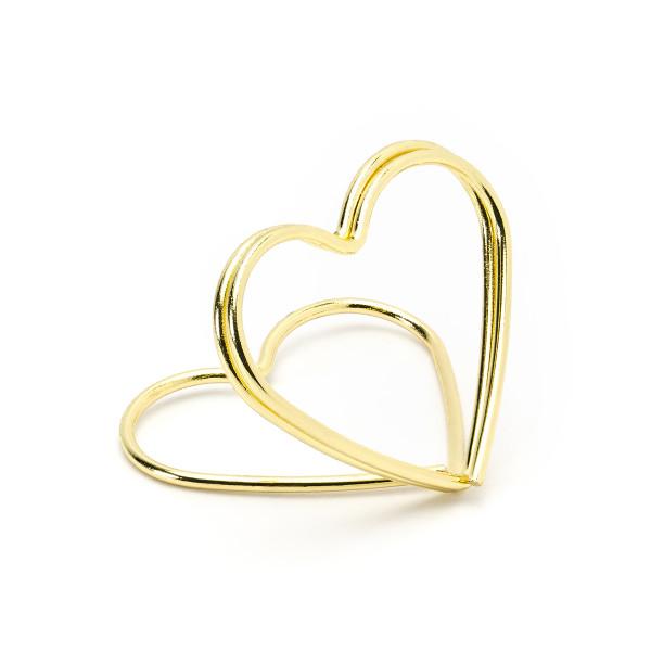 Tischkartenhalter 'Herz' (10 Stück) - gold