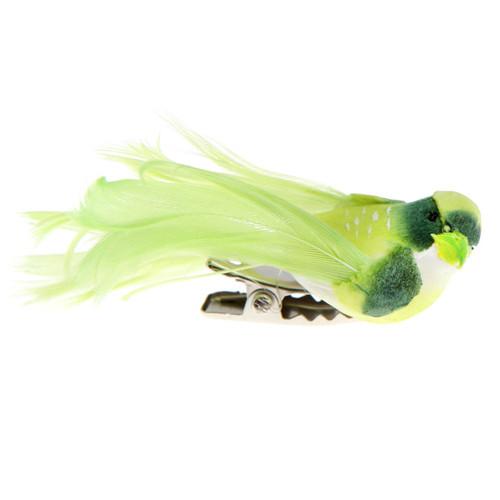 Deko-Vögel mit Clip (4 Stück), klein - hellgrün
