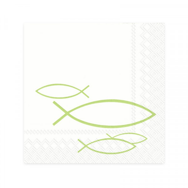 Cocktailservietten Ichthys Fische (20 Stück) - hellgrün
