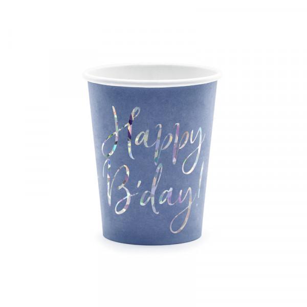 Becher 'Happy B'day!' (6 Stück) - blau & holografisch
