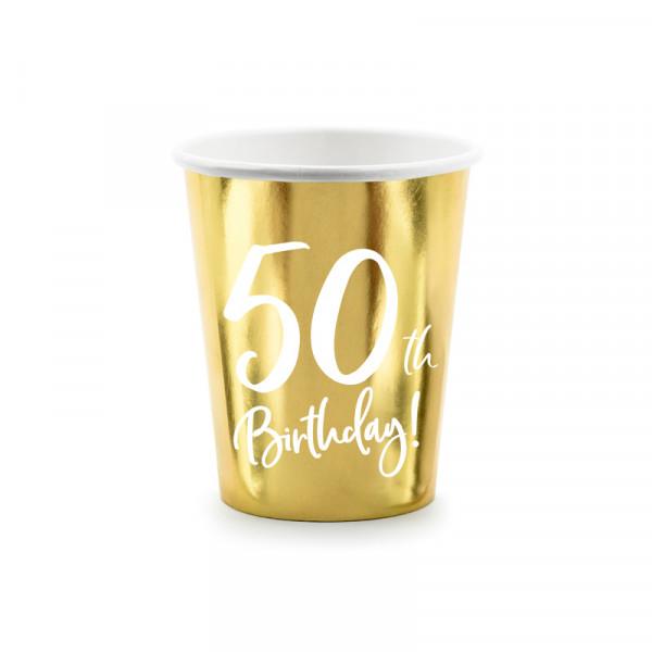 Becher '50th Birthday!' (6 Stück) - gold