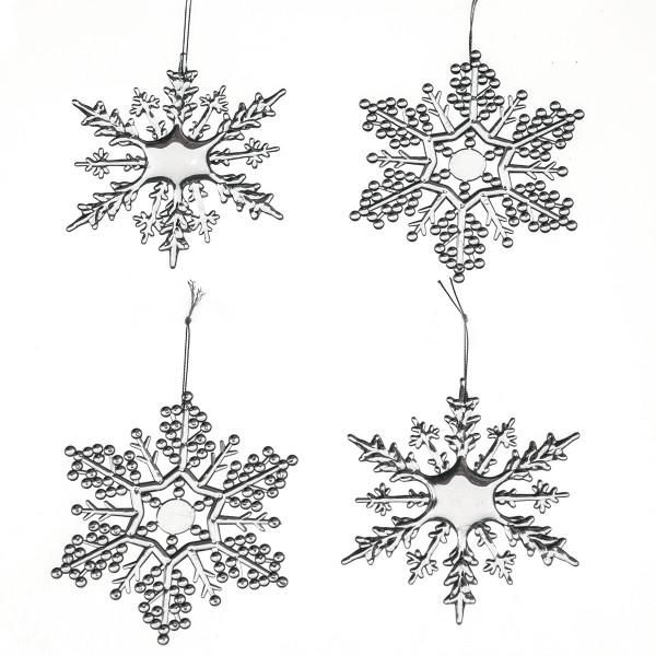 Hänger Eiskristalle Schneeflocke (4 Stück) - transparent