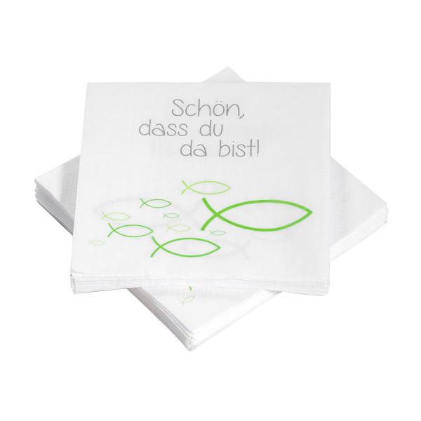 Servietten Ichthys Fische 'Schön, dass du da bist' - grün (20 Stück)