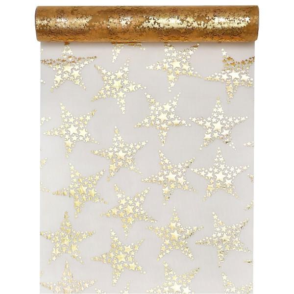 Tischläufer Sterne 28 cm x 3 m - gold