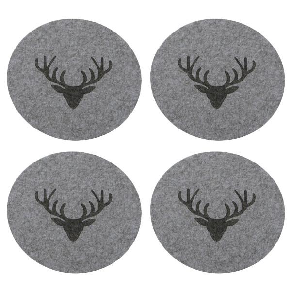 Tischsets / Platzsets 'Hirschkopf', Filz, Rund (4 Stück) 38 cm - grau