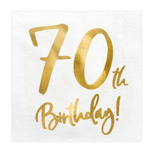 Servietten '70th Birthday' (20 Stück) weiß & gold