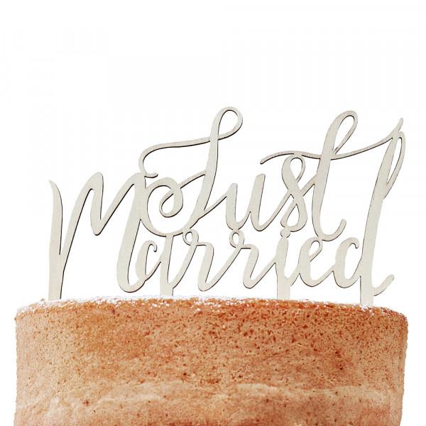 Tortenstecker Just Married Holz - Boho