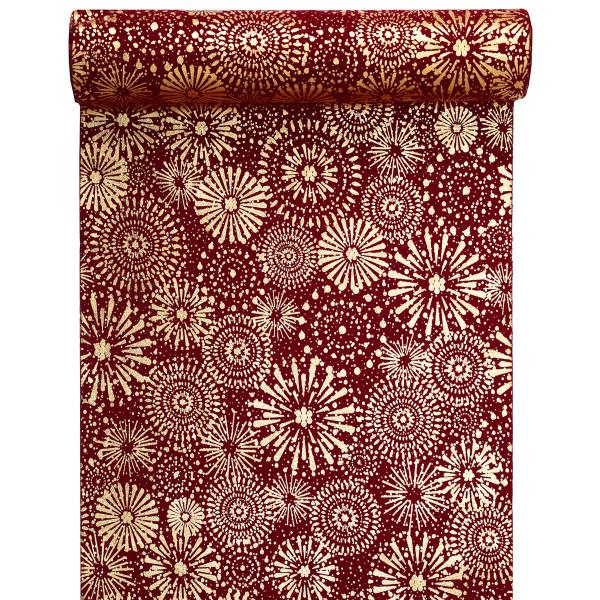 Tischläufer Feuerwerk 28 cm x 3 m - rot & gold