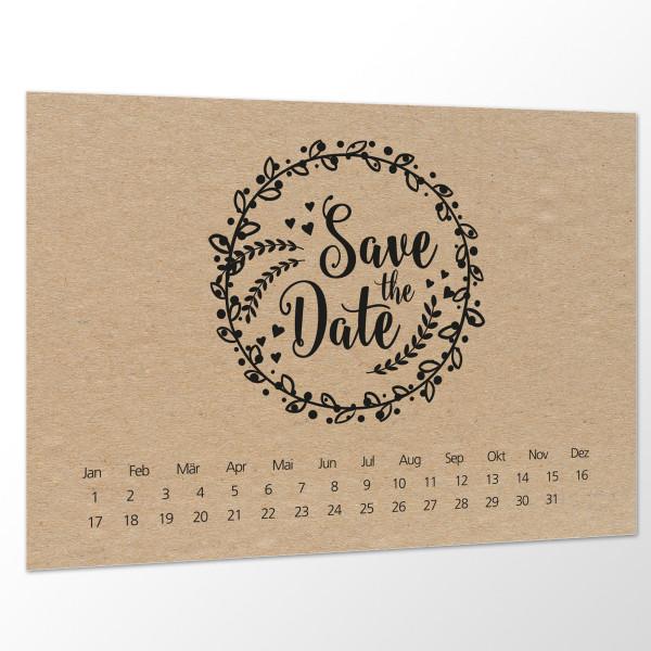 Save the Date Karte Hochzeit - Boho kraft schwarz