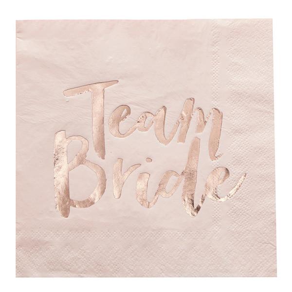 Team Bride Servietten 20 Stück - rosa & roségold