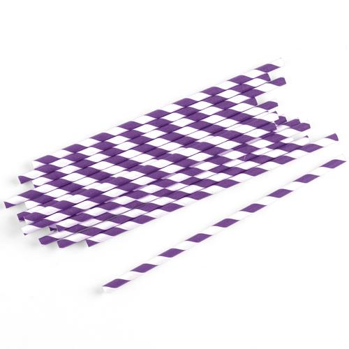 Strohhalme / Trinkhalme gestreift (75 Stück) - lila