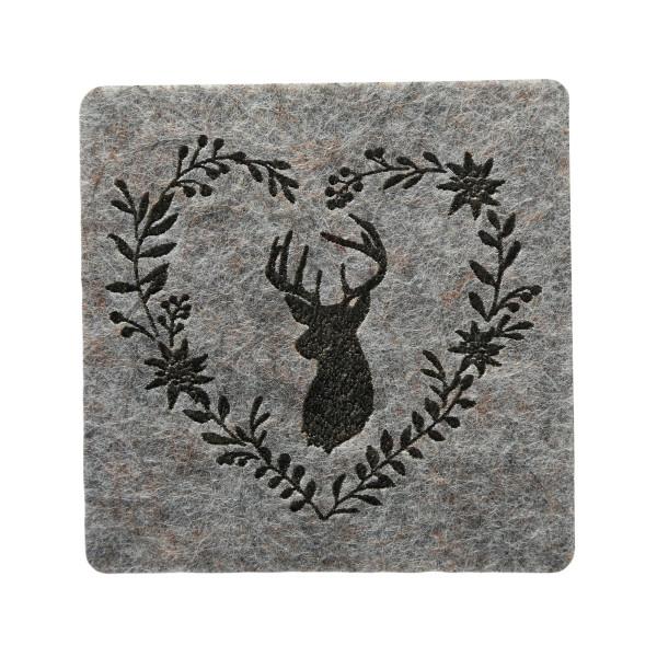 Untersetzer 'Leopold', Filz, Eckig (6 Stück) 10 cm - hellgrau