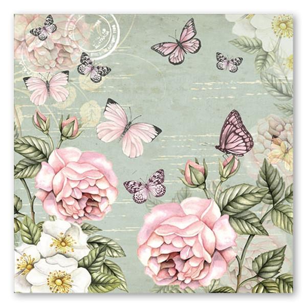 Servietten Rosen & Schmetterlinge (20 Stück)
