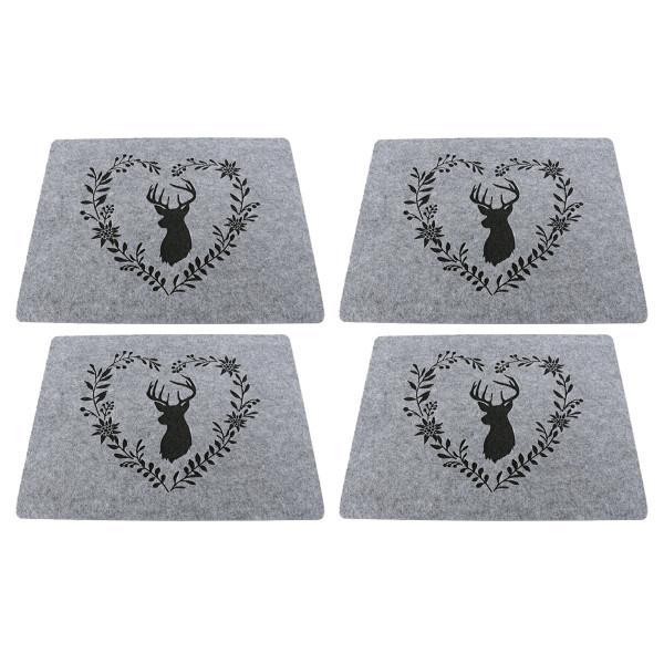 Tischsets / Platzsets 'Hirsch mit Herzkranz', Filz (4 Stück) 45 cm x 35 cm - grau